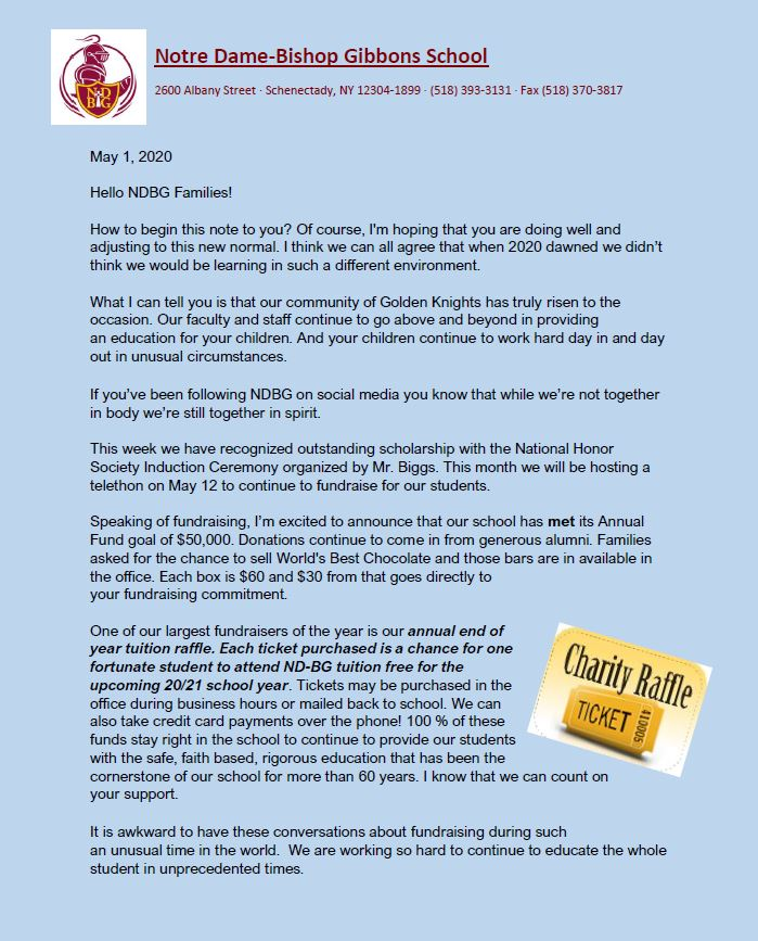May Letter to Families/Full Year Tuition Raffle