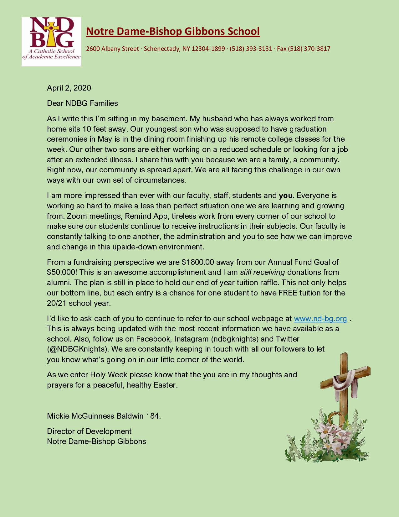 April Letter to Families